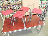 Стол складной + 4 стула отличное качество мощный усиленный, фото 1