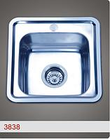 Врезная кухонная мойка из нержавеющей стали PLATINUM 3838 Сатин 0.6 мм.