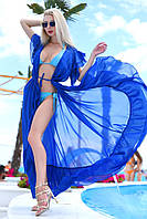 Туника женская длинная пляжная из шифона с волановыми рукавами под пояс (К28065), фото 1