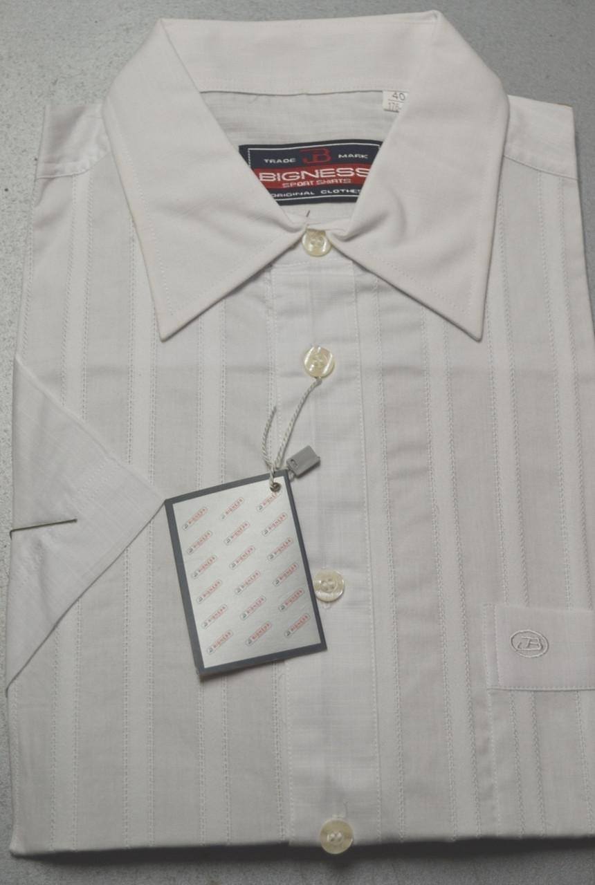 Мужская белая классическая рубашка с коротким рукавом 100% лен BIGNESS  (размеры 38.39.40.41.42.43)