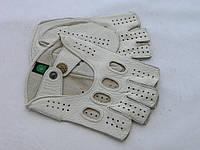 Перчатки автомобильные без пальцев Alpa Gloves кожа оленя белого цвета размер 9