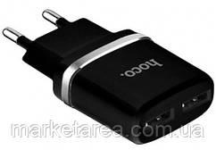 Сетевое зарядное устройство Hoco-C12 (2USB) 2.4A Black оригинал Гарантия!