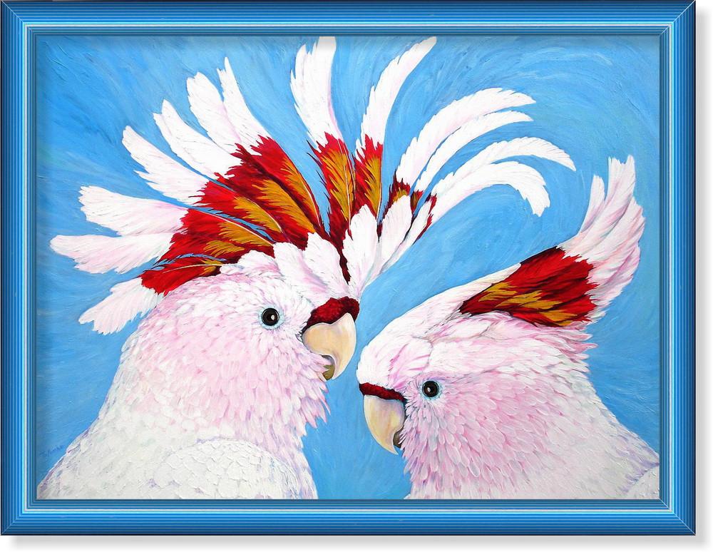 Репродукция  современной картины  «Какаду на голубом»