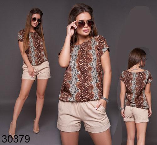 Летний женский костюм шорты + блузка с леопардовым принтом р.42-48