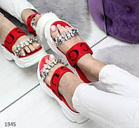 Красные шлепанцы на платформе Код:973682972, фото 1