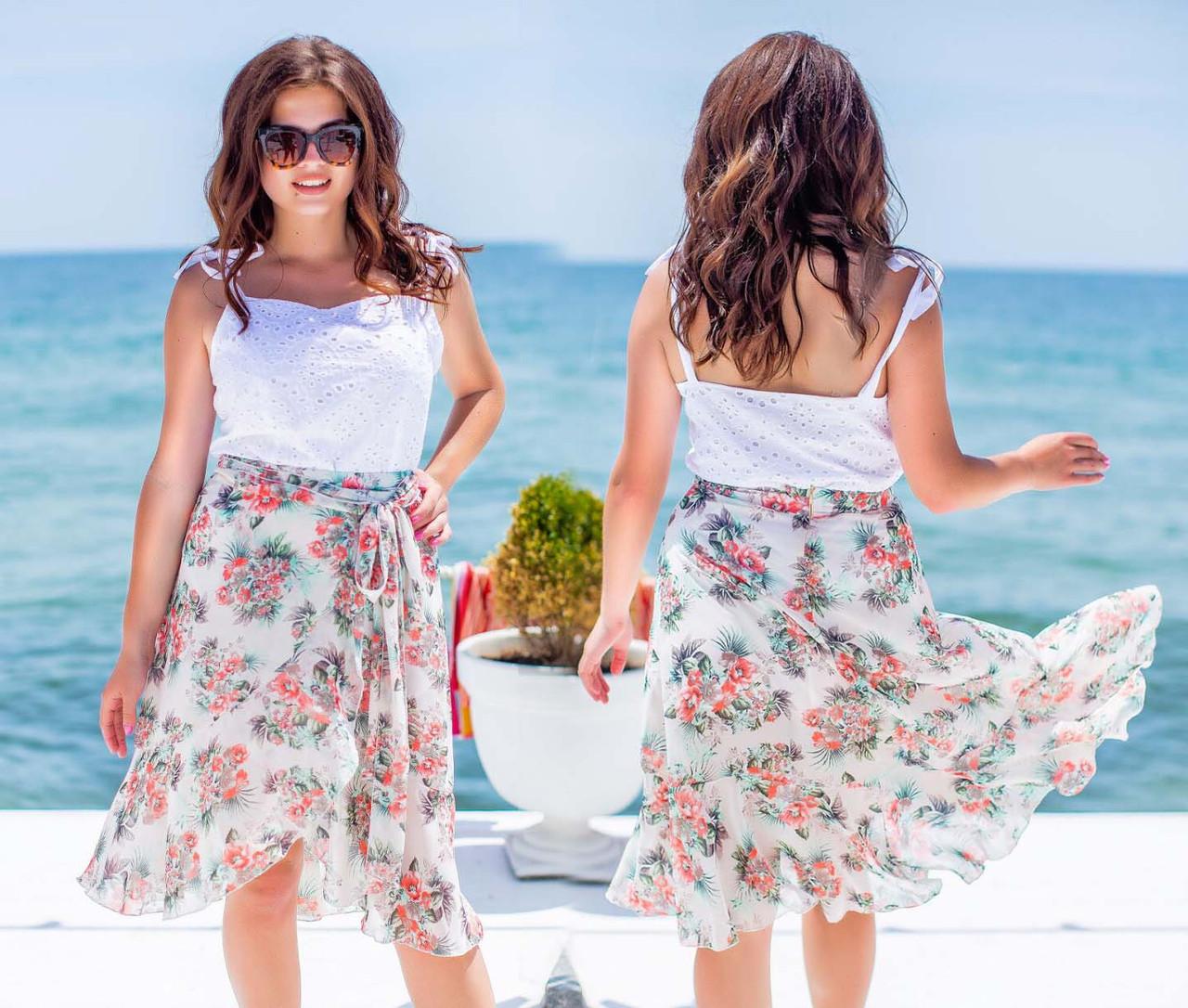 """Летняя стильная женская юбка в больших размерах 400 """"Шифон Цветы Запах Волан"""""""