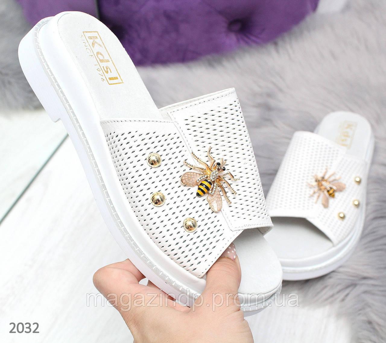 Белые женские шлепки из натуральной кожи Код:978026238