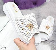 Белые женские шлепки из натуральной кожи Код:978026238, фото 1