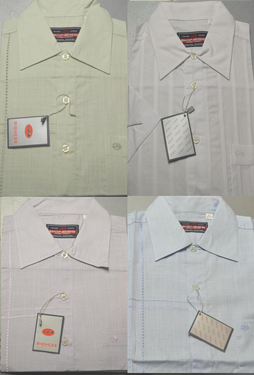 Мужские 100% ЛЕН летние рубашки с коротким рукавом BIGNESS (цвета и размеры в ассортименте)