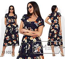 Женское летнее платье-халат из штапеля батал 48-56 размер