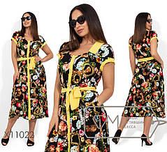 Женское летнее платье-халат из штапеля батал 48-56 размер, фото 2