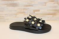 Шлепанцы женские черные с цветами Б265