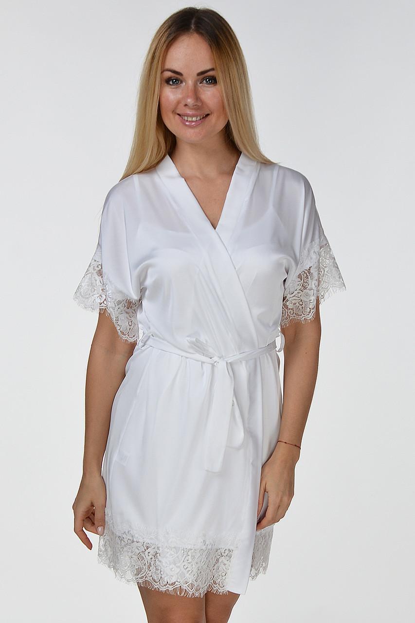 Атласный халат женский с кружевом шелковый (искусственные шелк), белый