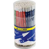 Карандаши графитовые НВ, ассорти, с  резинкой, туба BM.8501