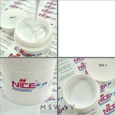 NICE Гель для наращивания 50ml GS 1 желе белый UV, фото 3