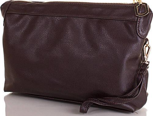 Женская косметичка из качественного кожезаменителя от ТМ VALENTA (ВАЛЕНТА) VBK225610 тёмно-коричневый