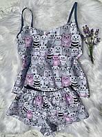 Хлопковая пижама с модным принтом котики.Размер S,M,L.