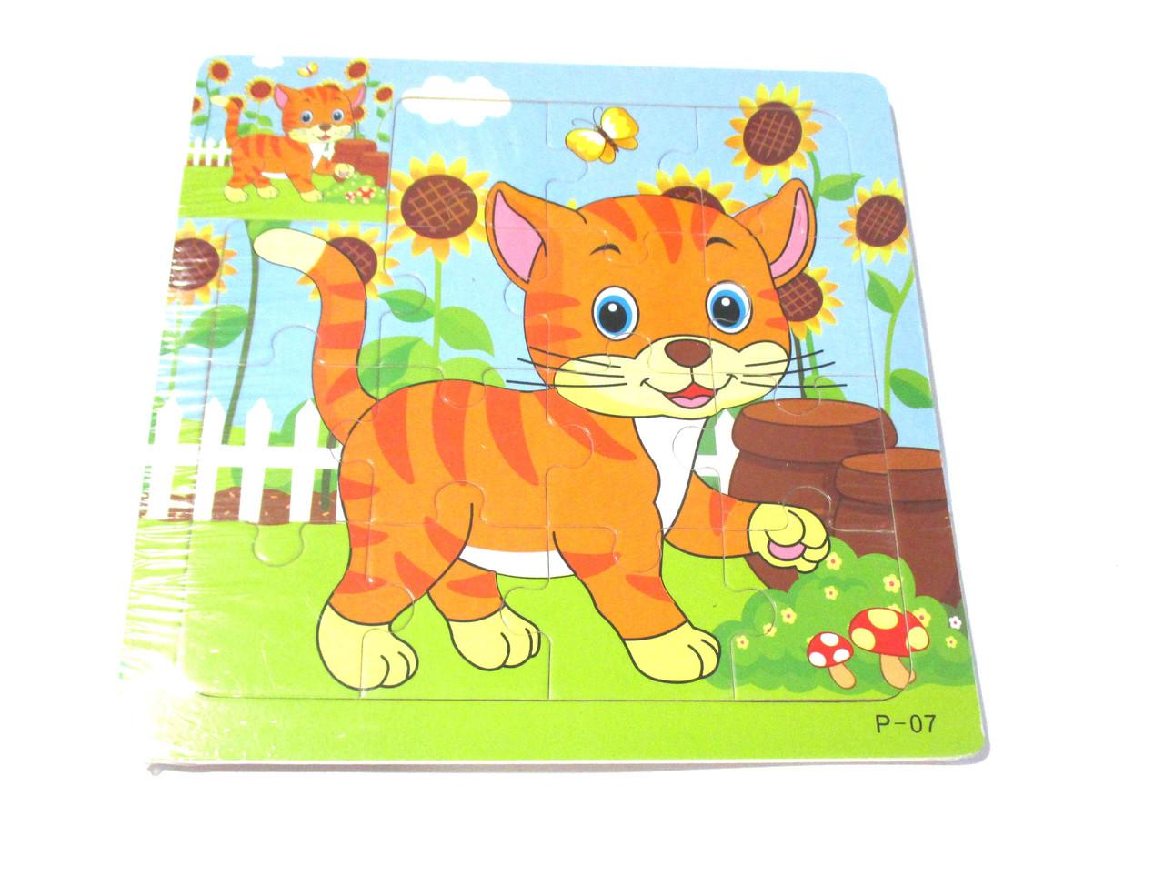 Деревянная игрушка Пазлы MD 1423 Кошка 15-15-0.5см 2193