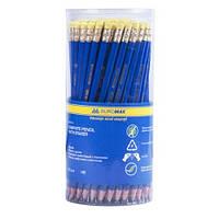 Карандаши графитовые НВ JOBMAX пластиковые , синий, с резинкой, туба ВМ.8514