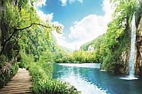 Фотообои готовые  флизелиновые Водопад в лесу размер 375 х 250 см
