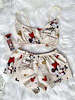 """Хлопковая пижама с топиком """"Микки"""".Размер S,M,L."""