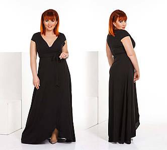 """Элегантное длинное летнее платье-халат в больших размерах  """"Штапель Макси Запах Волны"""" в расцветках (DGс476-1)"""
