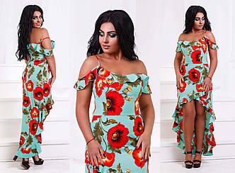 """Элегантное нарядное женское платье до больших размеров """"Софт Маки Плечи Рюши Кармен Запах"""" (DGс472-1)"""