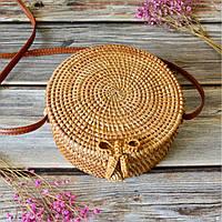 Женская круглая плетеная сумка Rattan Bali 20х8 см из ротанга с застежкой бантик
