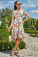 Пляжное Шифоновое Платье Асимметрия с Завышенной Талией Желтое S-XL