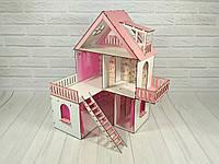 Домик для кукол Солнечная Дача с обоями и шторками 3 этажа, 5 комнат, балконы