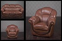 """Комплект мягкой мебели в кожзаменителе """"Мальта"""" в наличии, диван и два кресла в классическом стиле, из дерева"""