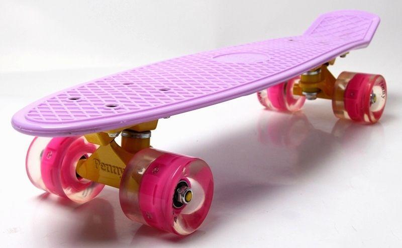 Скейт Penny Board. Lilac (Лиловый). Гравировка. Светящиеся колеса.