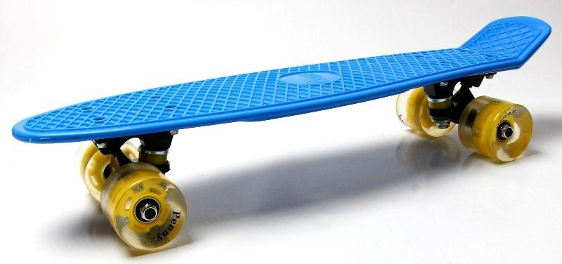 Penny Board. Blue. Светящиеся желтые колеса.