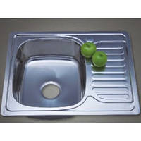 Врезная кухонная мойка из нержавеющей стали PLATINUM 6642 Декор 0.8 мм.