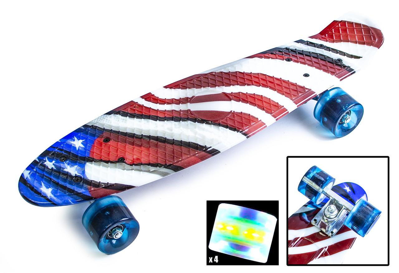 """Penny Board """"USA"""" Светящиеся колеса!"""