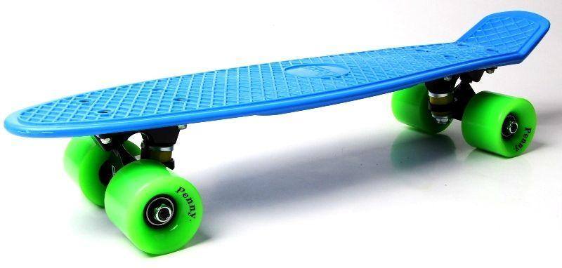 Penny Board. Синий цвет. Зеленые колеса