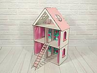 Домик для кукол LOL LITTLE FUN maxi с обоями, шторками и лестницей 3 этажа, 5 комнат 62 см