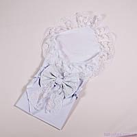 Конверт на выписку лето, кружевной конверт пеленка с бантом, белого цвета 78х85см