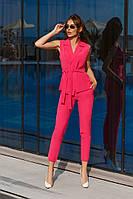 Стильный женский костюм жилет и брюки розовый