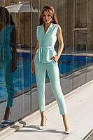 Стильный женский костюм жилет и брюки мята