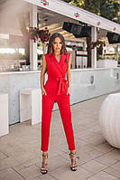 Стильный женский костюм жилет и брюки красный