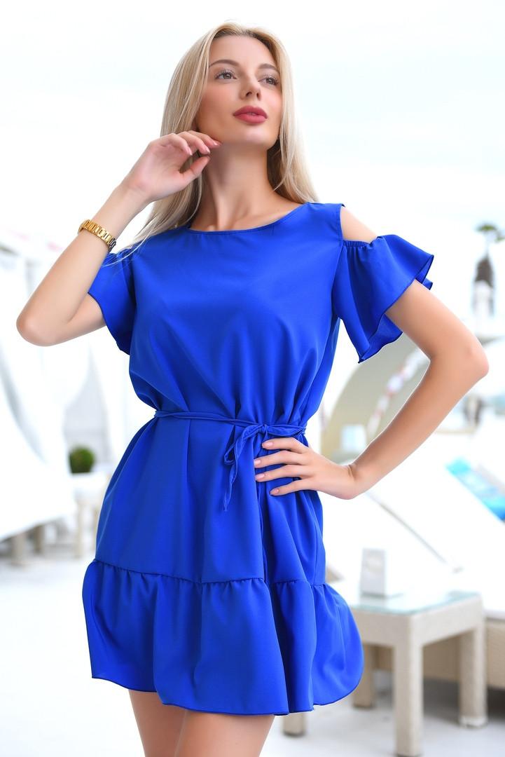 Платье женское короткое с оборками (К28072)