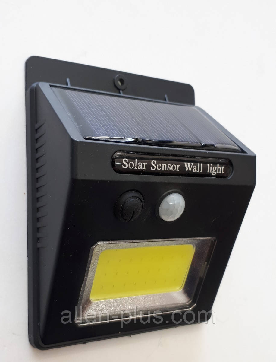 Ліхтар автономний вуличний з датчиком руху і сонячною батареєю, COB, 18650