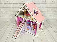 Домик для кукол LOL LITTLE FUN с мебелью, шторками, обоями, текстилем и лестницей, 3 комнаты,  40 см
