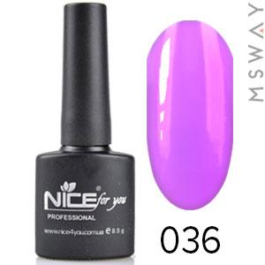 NICE Гель-лак черный флакон Тон 036 ярко сиреневая эмаль
