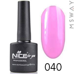 NICE Гель-лак черный флакон Тон 040 дымно розовая эмаль, фото 2