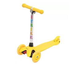 Самокат BB 3-013-4-H(Yellow) (Желтый) MINI,алюм+пласт,свет,2пер110мм,задн80мм,руль58/67,5см, (Желтый)