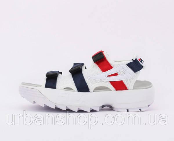 Чоловічі босоніжки сандалії FILA Disruptor Sandals blue red white.