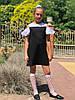 Стильное детское платье сарафан с брошью 122-146