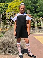 Стильное детское платье сарафан с брошью 122-146, фото 1